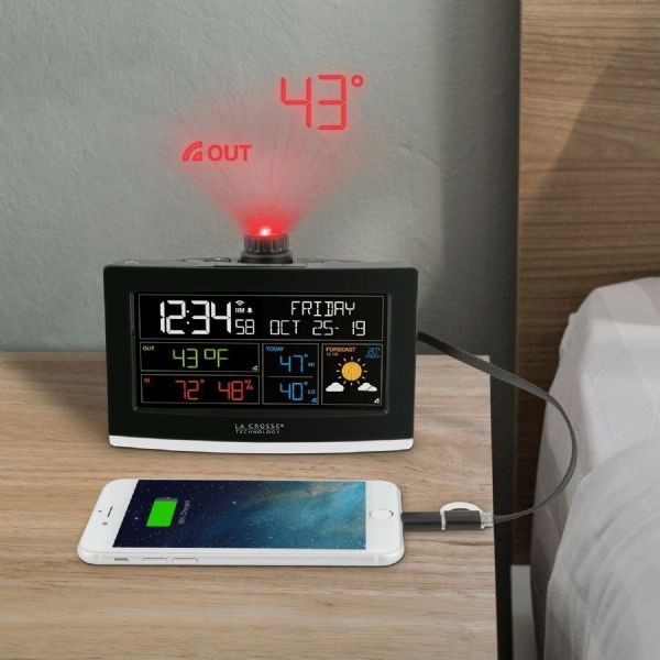 La Crosse Technology Wi-Fi Projection Alarm Clock AccuWeather Forecast C82929
